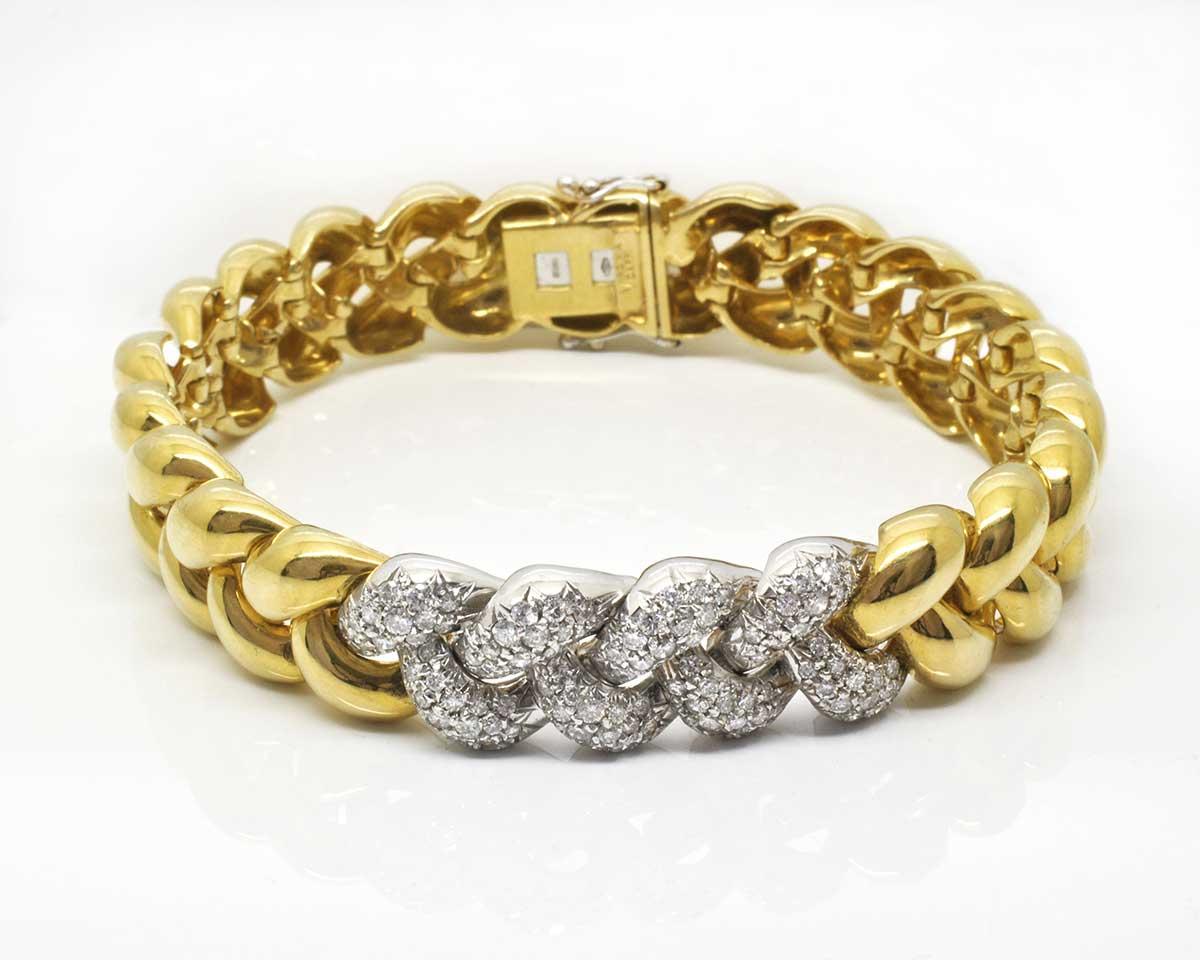 Eccezionale Bracciale Fantasy Catena Grande Oro Giallo con Diamanti – Virginia  QI15