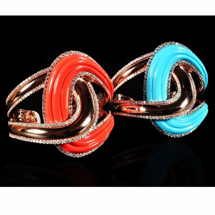 Coral and  turquoise cuffs....