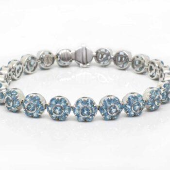 Blue Topaz Flower Tennis Bracelet